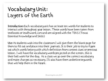Vocabulary Study - Layers of the Earth