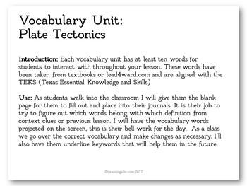 Vocabulary Study - Plate Tectonics