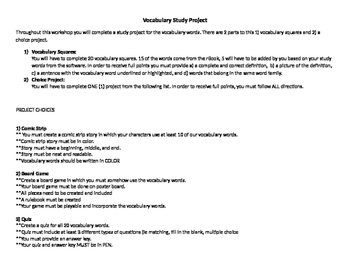 Vocabulary Study Project--READ 180, ELA, Science, History, Math