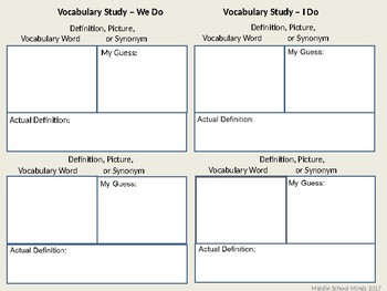 Vocabulary Study - Reader's Notebook Page