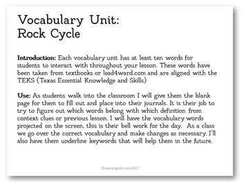 Vocabulary Study - Rock Cycle