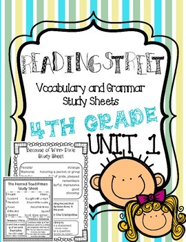 Reading Street Vocabulary Study Sheets Unit 1
