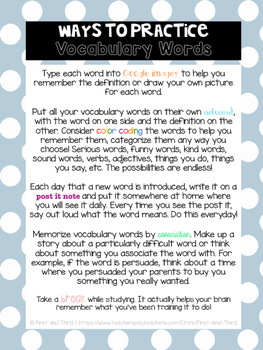 Vocabulary Study Tips