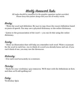 Vocabulary Study - Weekly Homework