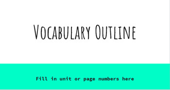 Vocabulary Study for any Unit- PowerPoint and Google Slide