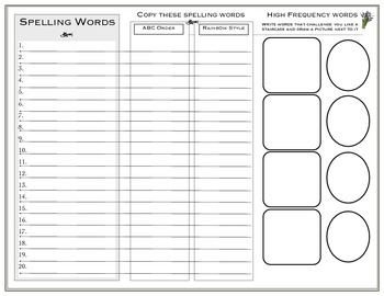 Vocabulary Subject Study Unit Template/ Spelling
