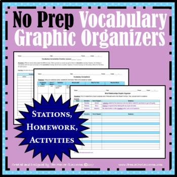 NO PREP Vocabulary Graphic Organizers BUNDLE