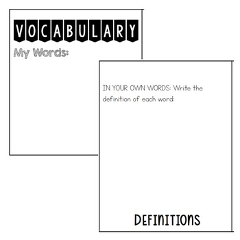 Vocabulary Support Flip Book Activity