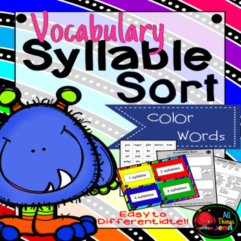 Vocabulary Syllable Sort- Color Words