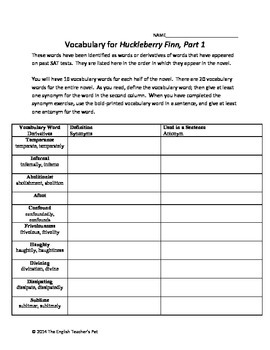 Huckleberry Finn Vocabulary, Synonyms and Antonyms with Answer Key