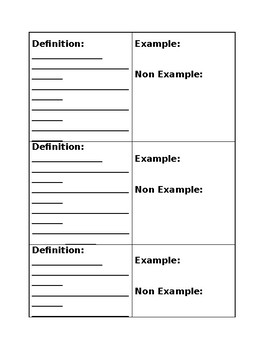 Vocabulary Tabs for INB - Template