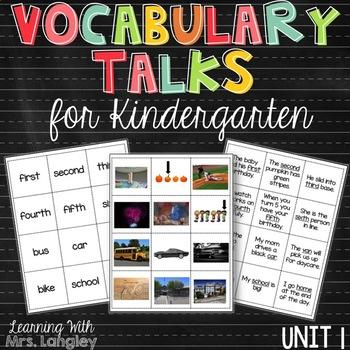 Vocabulary Talks Kindergarten Unit 1