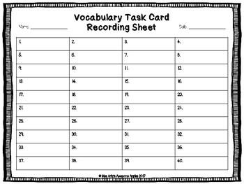 Vocabulary Task Cards