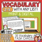 Vocabulary Task Cards Activities to use with Any List