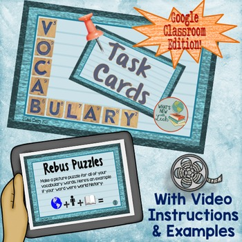 Vocabulary Task Cards For Google Classroom and One Drive