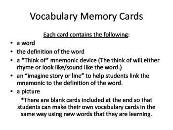Vocabulary Task Cards ~ Great for Literacy Centers in Middle School