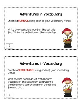 Vocabulary Task Cards Set