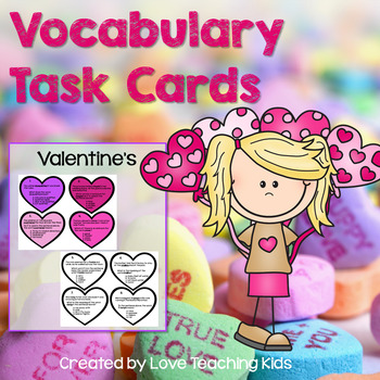 Vocabulary Review Task Cards- Heart Shaped