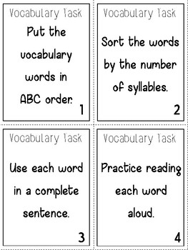 Vocabulary Task Cards for Any List