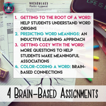 Differentiated Vocabulary Practice Task Cards and Assignments for Any Word List