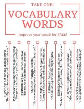 Vocabulary Tear-Off Tab Flyers