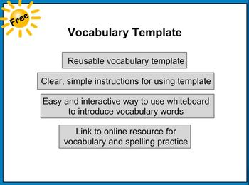 vocabulary template teaching resources teachers pay teachers