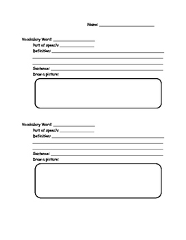 Vocabulary Template