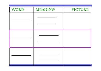 Vocabulary Template - Fill in with your Words! PDF by Ashley Cheek