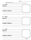 Vocabulary Template Grades