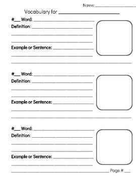 Vocabulary Template Grades