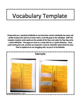 Vocabulary Template for ISN