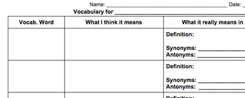 Vocabulary Template for Middle School/High School Texts