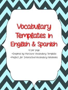 Vocabulary Template in English & Spanish