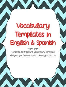 Vocabulary Template in English & Spanish