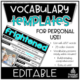 Editable Vocabulary Templates | PERSONAL USE
