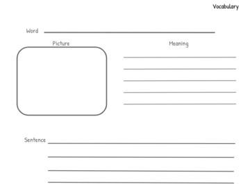 Vocabulary Templates PreK-2 Edition