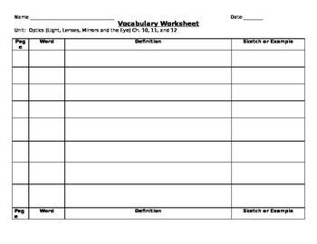 Vocabulary Template/worksheet