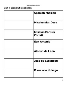 Vocabulary Terms Assignment Unit 04 Spanish Colonization