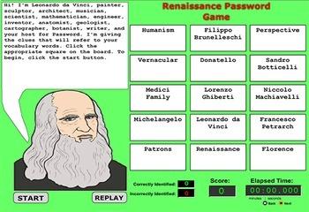 Renaissance Vocabulary Terms Game - Bill Burton