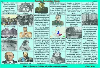 Russian Revolution Silhouettes - Vocabulary Terms Games - Bill Burton