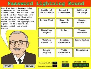 Vocabulary Terms Game -  World War II - Bill Burton
