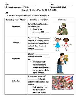 Vocabulary Terms and Names - World War I