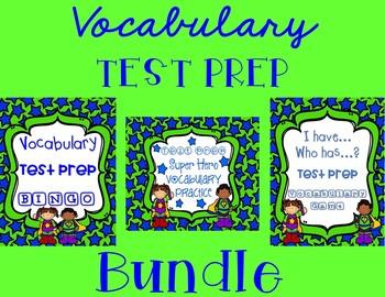 Vocabulary Test Prep BUNDLE in Super Hero Stars and Stripes