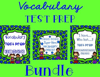 Vocabulary Test Prep BUNDLE in Super Hero Stars and Stripes