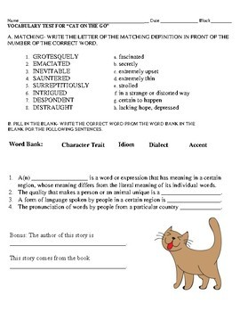 Cat on the Go by James Herriot Vocabulary Test