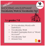 "Vocabulary & Test for ""Shooting an Elephant"" {Digital & PDF}"