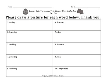 Vocabulary Test for Tommy Goes to the Zoo OR General Words / Fun (Older Student)