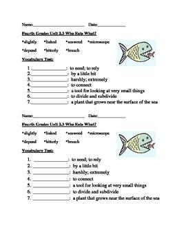 Vocabulary Tests Imagine It Fourth Grade Units 1 - 3