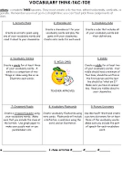 Vocabulary Think-Tac-Toe Activity