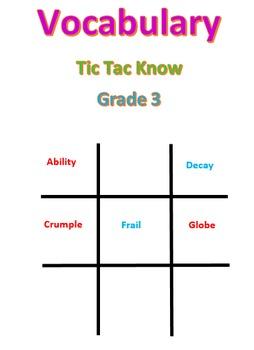 Vocabulary Tic Tac Know -- Grade 3